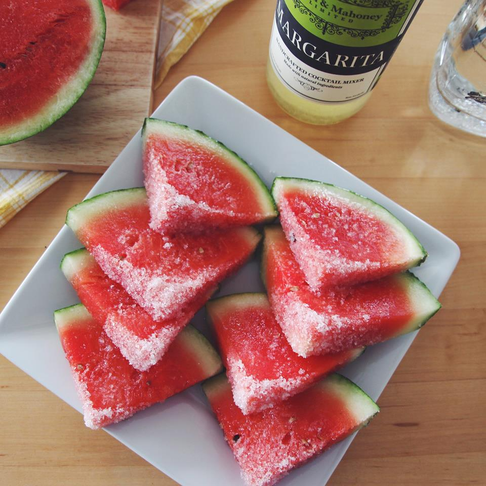 Margarita Watermelon Wedges: The perfect boozy summer snack, made with Powell & Mahoney Margarita mix.