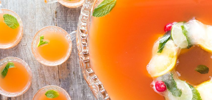 Blood Orange & Mint Bourbon Punch