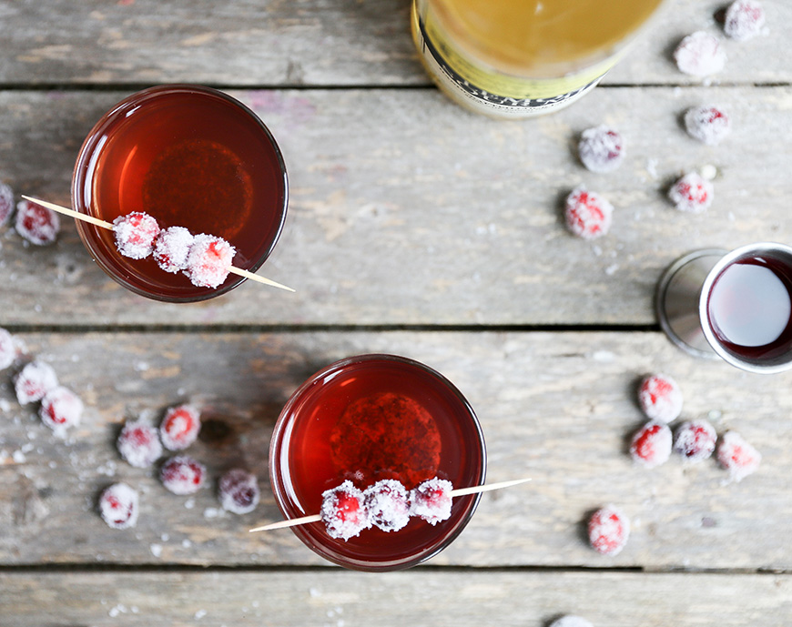 Cranberry Whiskey Sour recipe with sparkling cranberries.