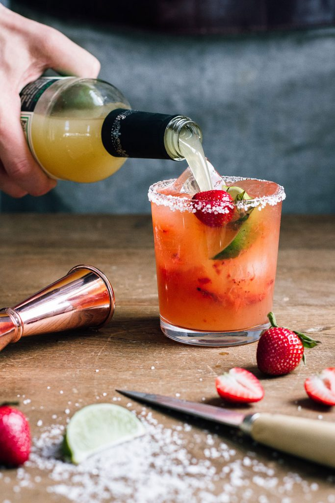 Roasted Strawberry Mezcal Margarita as part of a series of strawberry cocktail recipes by Powell & Mahoney.