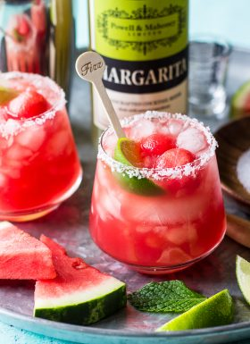 This Watermelon Mint Margarita is a fun and refreshing cocktail made with fresh watermelon, mint, blanco tequila, and P&M Classic Margarita mixer.