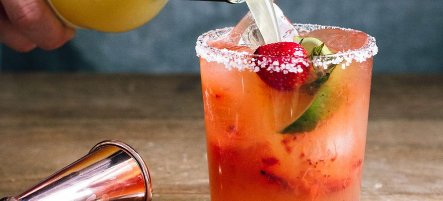Roasted Strawberry Mezcal Margarita