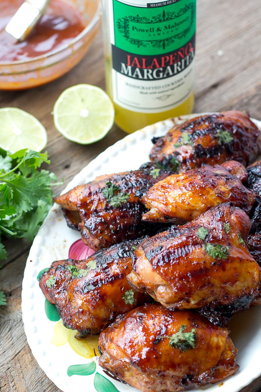 Image of grilled chicken thighs using Powell & Mahoney's Jalapeño Margarita mixer in a Jalapeño BBQ Sauce.