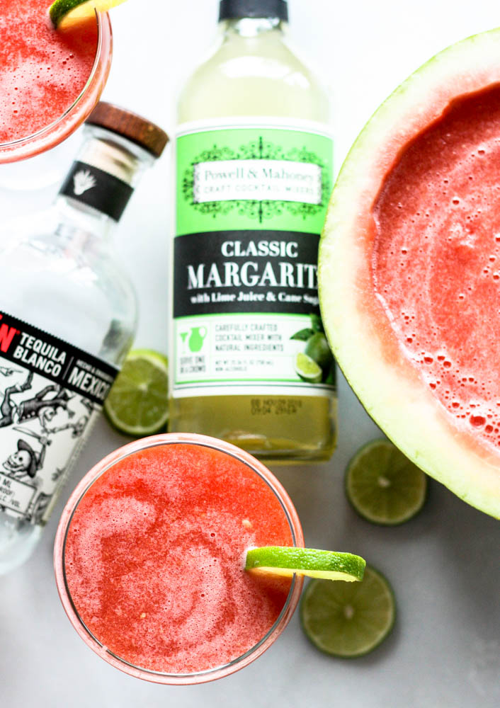 Watermelon Margarita : A refreshing punch recipe made with Powell & Mahoney Margarita mix.