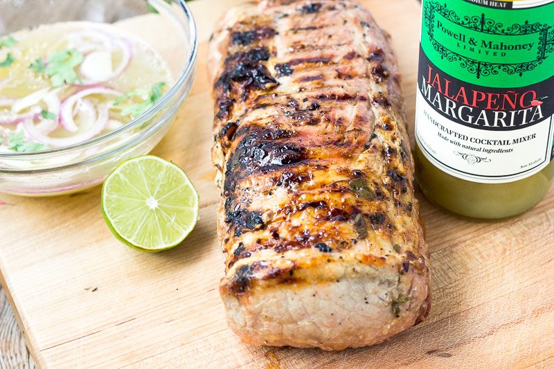 Image of grilled pork loin that was made with a marinade using Powell & Mahoney's Jalapeño Margarita mixer.