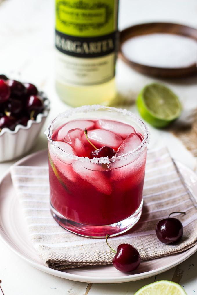 Image of a cherry margarita made with Powell & Mahoney Classic Margarita mixer.