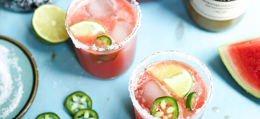 Spicy Watermelon Basil Margarita