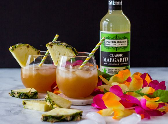 Pineapple Rum Cocktail: a refreshing summer cocktail made simply with Powell & Mahoney Classic Margarita.