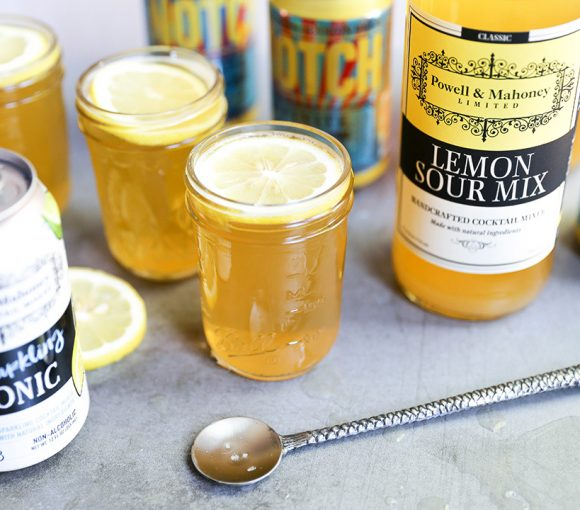 Session Whiskey Sour Sangria: a refreshing beer cocktail made simply with Powell & Mahoney Lemon Sour Mix.