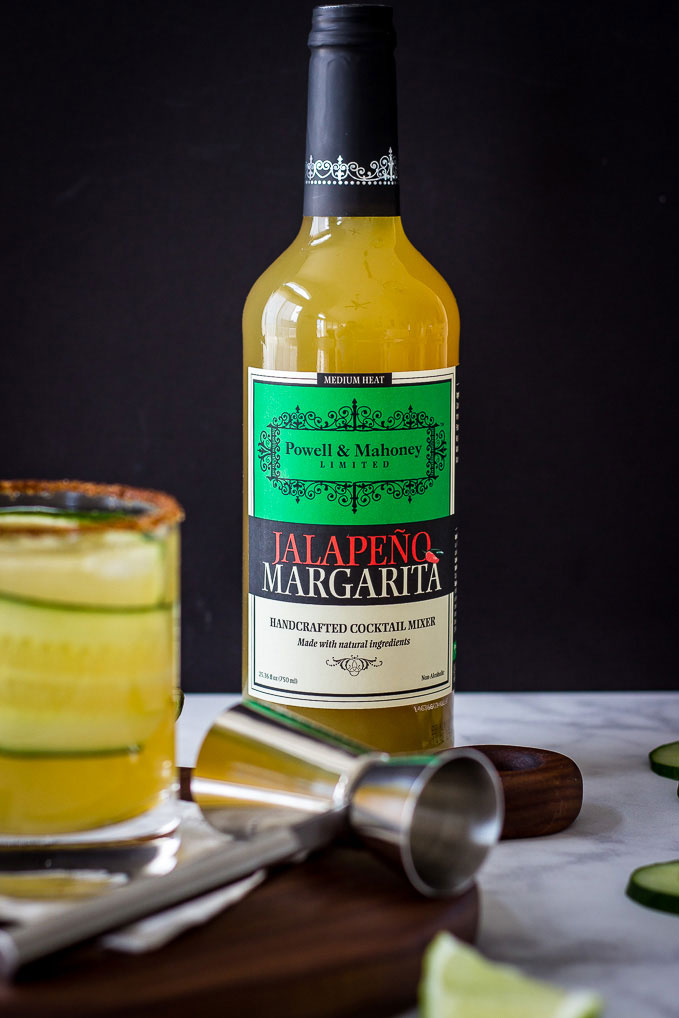 Cucumber Jalapeno Margarita: a refreshingly spicy cocktail made simply with Powell & Mahoney Jalapeno Margarita mixer.