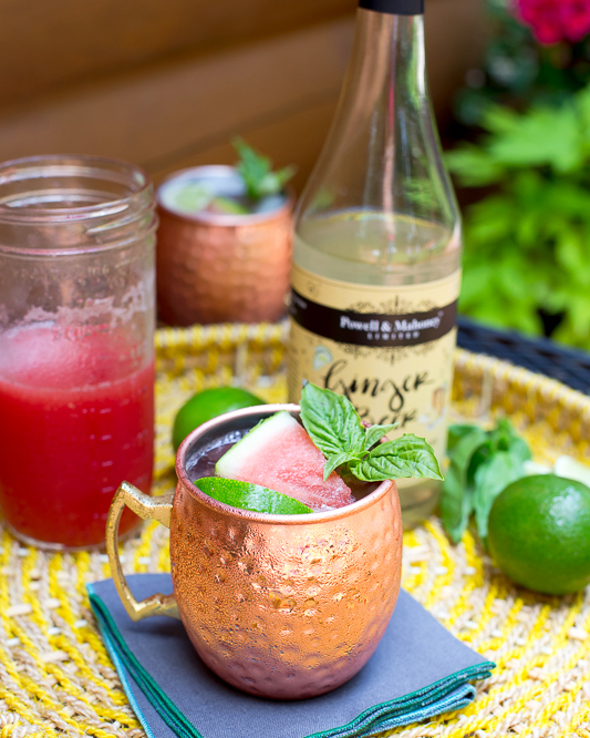 Watermelon Moscow Mule - using fresh basil leaves, and watermelon juice.