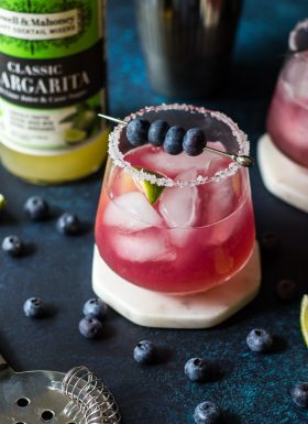 Blueberry Margarita: a vibrant cocktail made simply with Powell & Mahoney Classic Margarita.