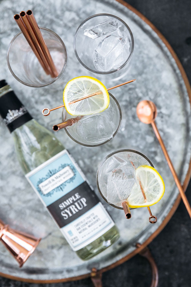 Tom Collins: a classic gin cocktail recipe made with Powell & Mahoney Simple Syrup.