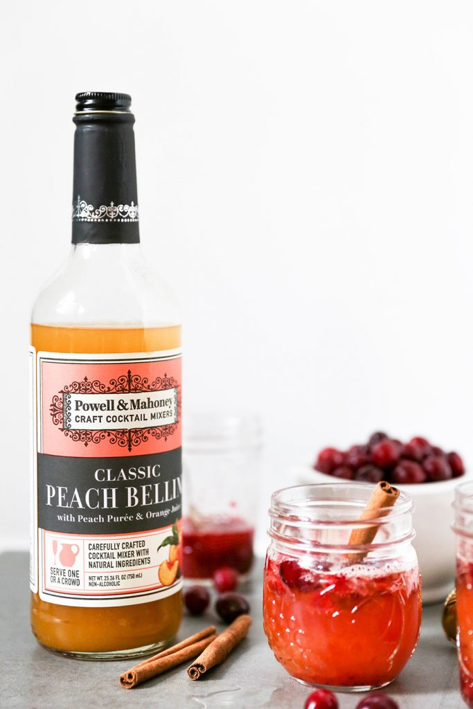 Cranberry & Peach Bellinis: a perfect Thanksgiving cocktail.