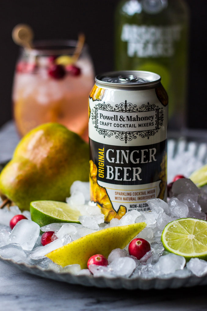 This Cranberry Pear Moscow Mule is perfect for fall, and made with cranberry juice, pear vodka, freshly squeezed lime juice, and P&M Ginger Beer.