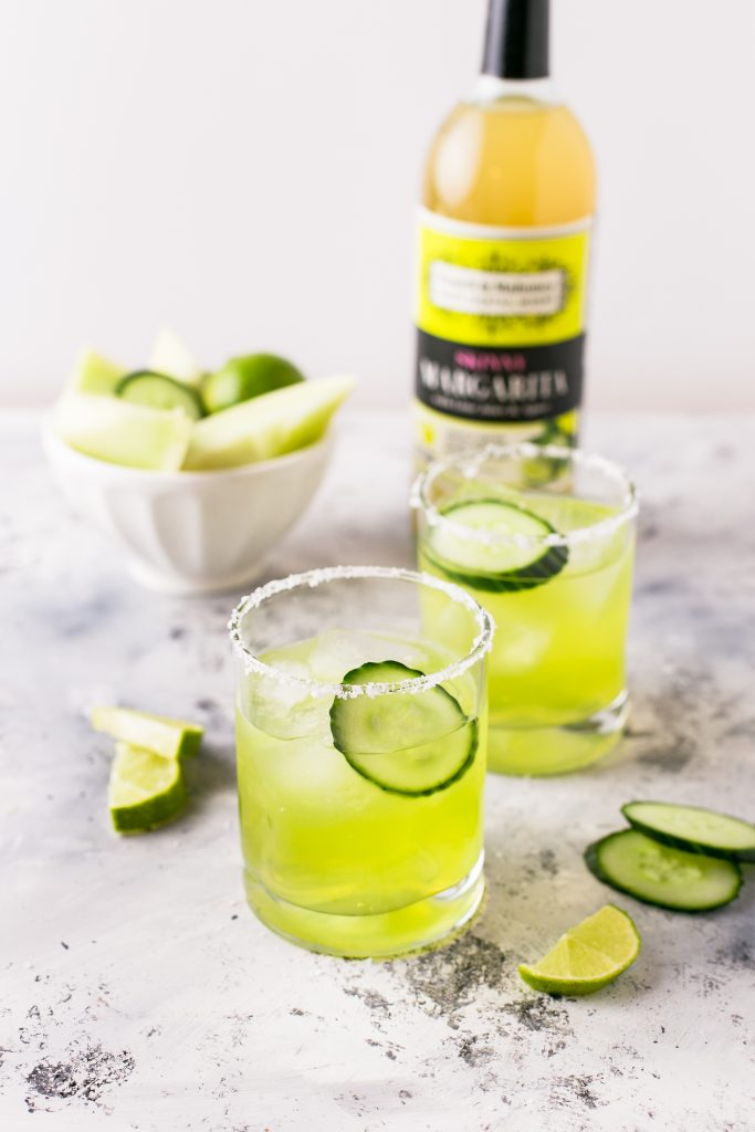 Skinny Cucumber Melon Margarita in a series of National Margarita Day Recipes