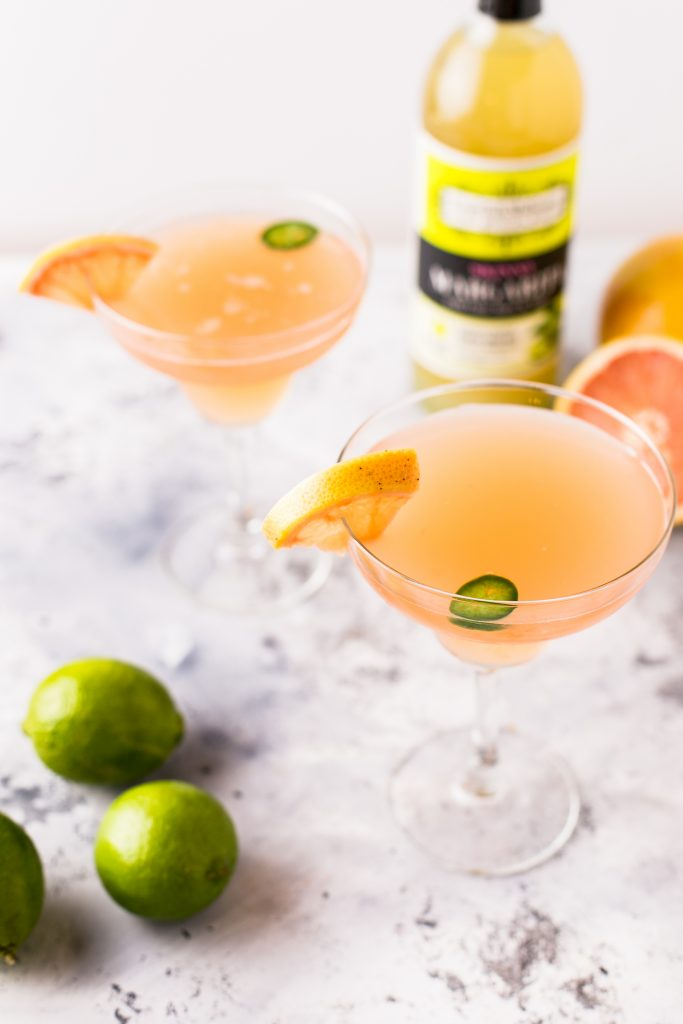 Skinny Spicy Grapefruit Margarita in a series of National Margarita Day Recipes