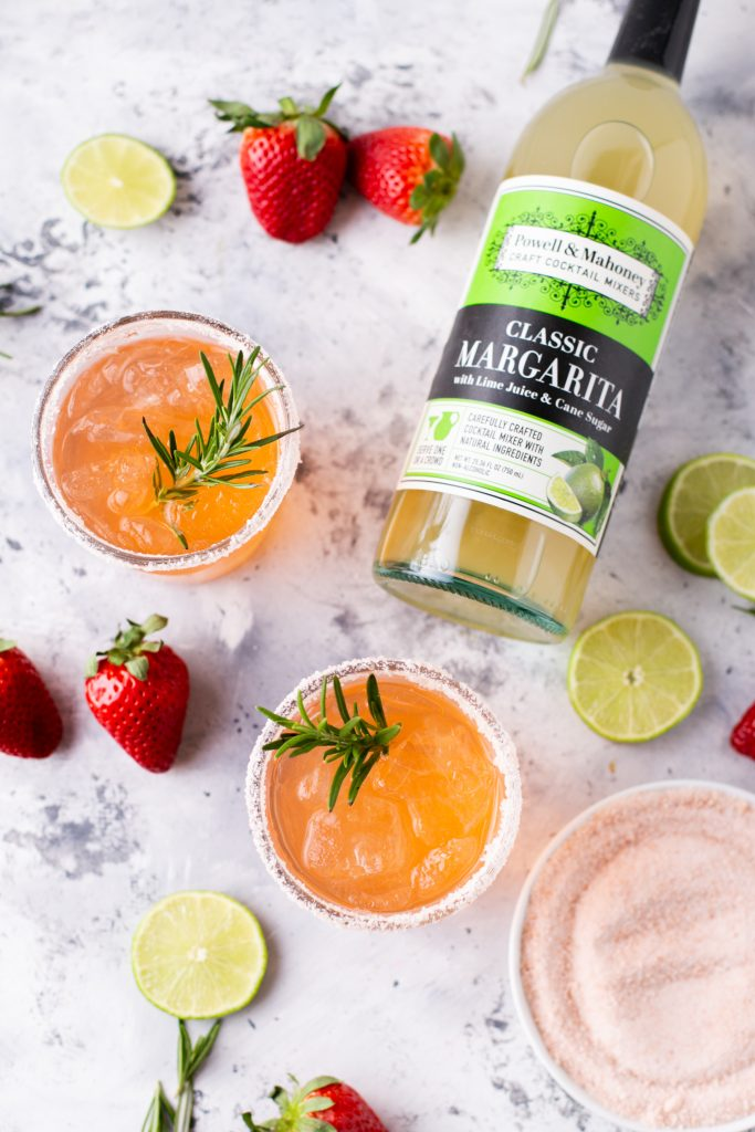 Strawberry Rosemary Margarita in a series of National Margarita Day Recipes